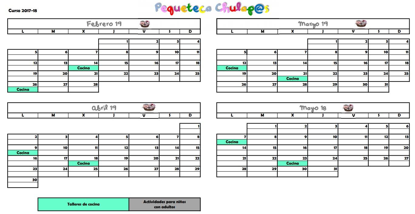 Calendario Pequeteca 2018