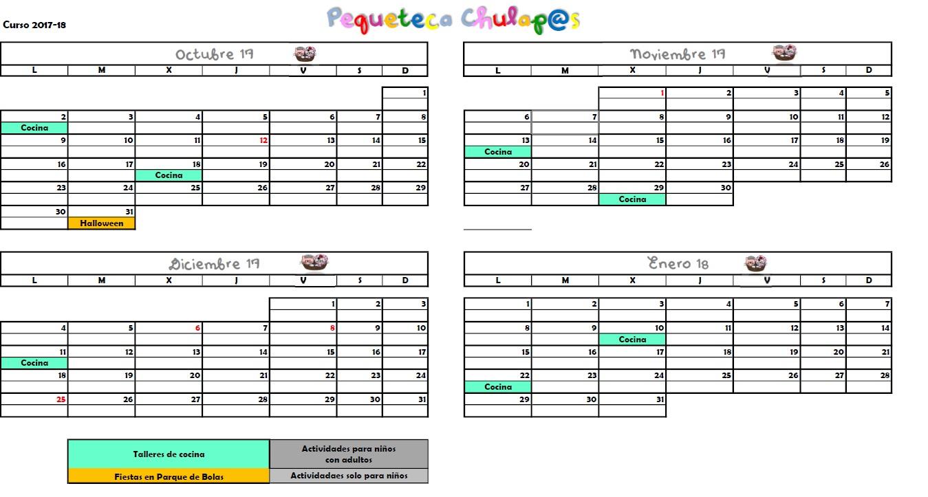 Pequeteca Calendario 2017-2018
