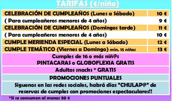 Precios Parque de bolas 2018 Escuela Infantil Chulapos