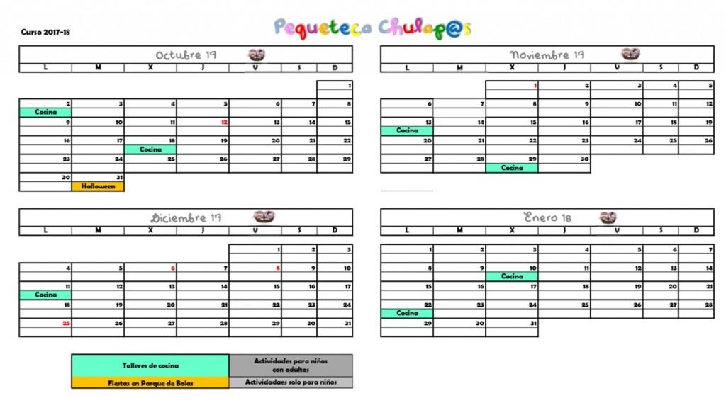 Calendario Pequeteca 2017-18