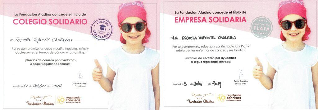 certificado Colegio Solidario Fundación Aladina